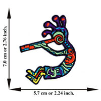 Kokopelli Flute Player Dancing V.1 Iron On Patch Sew Applique Embroidered Crafts
