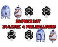 "28 Pieces Star Wars Darth Vader Yoda Print Latex 12"" Balloon + Droid R2D2 + BBE"