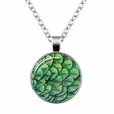 Vintage Style Glass Pendant Turquoise Blue Green Peacock Feathers Necklace N467