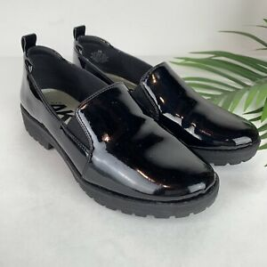 Anne Klein Black Patent Leather Believer Comfort Flats Loafers Shoes Size 6