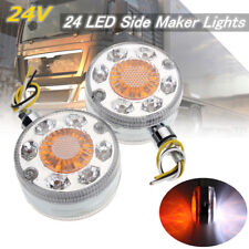 2pcs Chrome Red White Amber 24V LED Side Maker Lights For SCANIA DAF MAN RENAULT