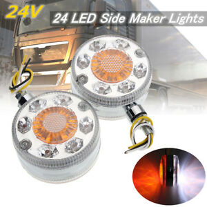 2x Chrome Red White Amber 24 LED Side Maker Lights For SCANIA DAF MA