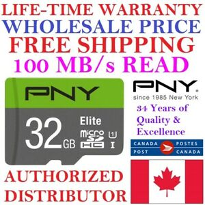 WHOLESALE PNY 32GB Micro SD Card MicroSD Memory Card Elite U1 LIFETIME WARRANTY