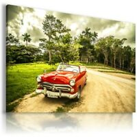CUBA RED ROAD TREES Sports Cars Wall Art Canvas Picture AU828 UNFRAMED-ROLLED