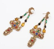 new 12pair Chic Women Jewelry Vintage gold cross Shape Dangle Earrings