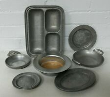 LOT of 7 PCS  Vintage Wilton Armetale SERVING TRAYS DISHES 3-Section Tray