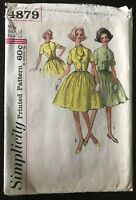 Vintage Simplicity 1960s Sewing Pattern #4879 Misses One-Piece Dress Size 12