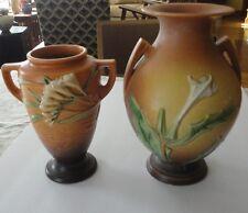 2 Vtg Brown 1940s Roseville Art Pottery Vases 121-8  Fressia & Thornapple 821-10