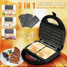 3 in 1 Breakfast Machine Maker Sandwiches Electric Panini Toast Bread Waffles