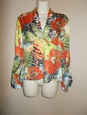 Boho Chic Womens Size XL Multi-Color Floral Stretch Blouse Long Sleeves Hi-Waist