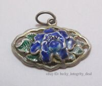 Old Chinese Enamel Pure Silver Carved peony Pendant