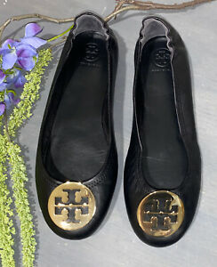 Tory Burch Minnie Black Nappa Leather Travel Foldable Ballet Flats Logo Sz 8.5
