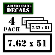 "7.62 X 51 Ammo Can 4x Labels Ammunition Case 3""x1.15"" stickers decals 4 pack WT"