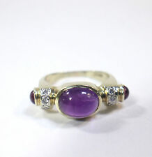 14kt Yellow Gold Ring Amethyst Pink Sapphires  Diamonds  Size 6.5