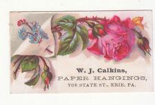 W J Calkins Paper Hangings Erie PA Pink Blue FlowersVict Card c1880s