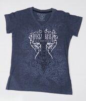 Hard Rock Cafe Chicago Women's Medium T-Shirt Blue Short Sleeve V-Neck