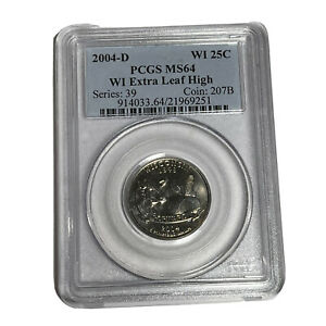 Estate Purchased 2004 D WI 25c PCGS MS64 WI Extra Leaf High Error