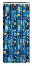 Space Rocket Fabric Shower Curtain Boy Child Kid Outer Spaceship Planets Blue