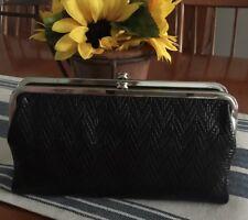NWT Hobo International LAUREN Wallet Chevron Embossed Black Leather RP $138