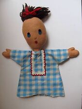 Vintage Jacobsons Finger Puppet Doll Blue Plaid Dress Big Head Made In Italy