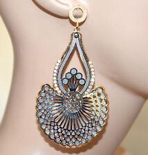 Boucles d'oreilles argent or femme strass pendantes métallisé élégant fête A33