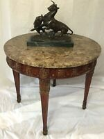 Beautiful Antique French Regency Style Round Marble Top Carved Centre Table