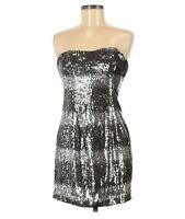 ABS Allen Schwartz Dress Womens Size 6 Silver Gray Sequin Strapless Cocktail