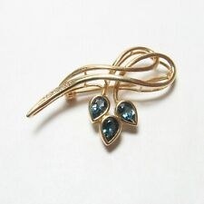 Topaz And Diamond Brooch 1.50 Cts Estate 14K Yellow Gold Natural London Blue