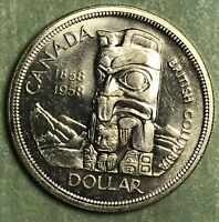 1958 CANADA TOTEM POLE SILVER DOLLAR COLLECTOR COIN FREE SHIPPING