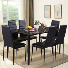 Black Glass Dining Table Set W/6 Faux Leather Chairs Kitchen Furniture 7 Piece