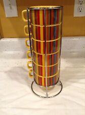 World Market Stacking Cups Mugs Chrome Stand Designer Red Yellow Microwave Safe