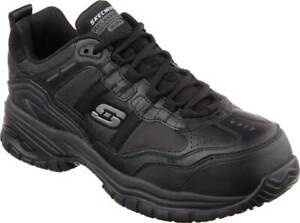 NEW Mens SKECHERS Work Relaxed Fit Soft Stride Black SUEDE Composite Toe Shoes