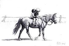 "Original pencil Drawing"" Ride""by Qi Debrah,Children,Animal,Size""11.50""x7.75"",US"