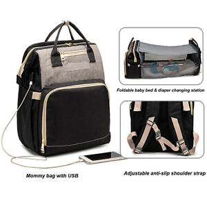 Diaper Bag Backpack Travel Bassinet Foldable Baby Bed, Sleeping Bag , USB