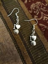 I LOVE VOLLEYBALL EARRINGS Vollyball Volley Ball Heart Sports Silver Hook Dangle
