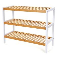 Schuhregal Sitzbänke Badregal Handtuchregal Standregal Bambus 3 Ebenen LBS03H
