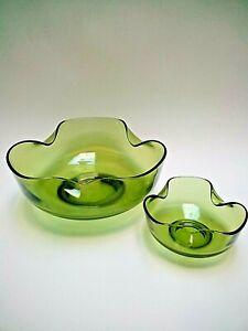 Vtg RETRO AVOCADO GREEN GLASS (2) Bowls~Chip n Dip~ANCHOR HOCKING~MCM Cool