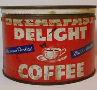 Vtg 1950s BREAKFAST DELIGHT COFFEE TIN GRAPHIC TIN CAN 1 POUND MUSKOGEE OKLAHOMA