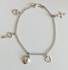 Bracelet en argent massif maille gourmette 3 mm et charms