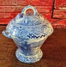 """Antique Midwinter Canterbury""""Landscape""""Covered Bowl Tureen Staffordshire Blue"""