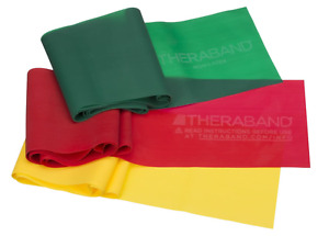 THERABAND Professional NON-LATEX Resistance Bands Yellow/Red/Green -Beginner Set