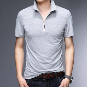 Men's Slim Polo Shirt Fashion Design Cotton Polo Zip Up Collar Short Sleeves New