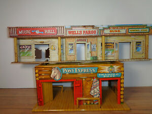 MARX TIN & LITHOGRAPHED PONY EXPRESS TRADING POST AND WELLS FARGO STREET STORES