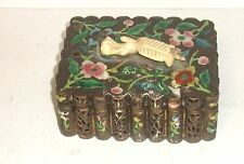 RARE 19TH CENTURY CHINESE BRONZE CLOISONNE REPOUSSE OPEN ENAMEL JAR BOX