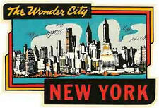 New York  - The Wonder City -    NY    Vintage Looking  Travel Decal Sticker