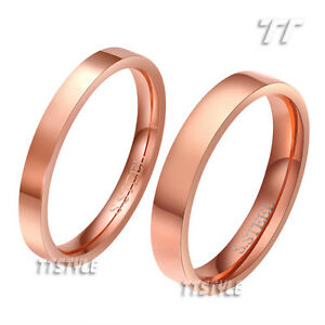 TTstyle Rose Gold Plated Stainless Steel Comfort fit Band Ring