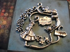 Alice in Wonderland Pendant Antiqued Silver Fairy Tale Charm Focal Pendant 1.5""