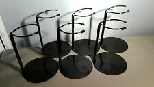 Doll Stands set of Six Black Metal stands for Dolls and bears 3 to 5 inches