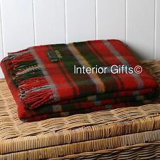 Pure Laine Vierge pays Tartan Check Blanket Throw Picnic Rug Plaid profonde vin rouge