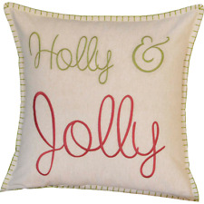 "Holly Jolly Christmas Cotton Toss Pillow Khaki with Green + Crimson 18""x18"" Vhc"
